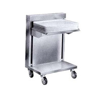 "Caddy Magic Tray Dispenser, cantilever style, unheated, single stack, for 14"" x 18"" trays (side load), cap.: up to 75 trays, self-leveling platform, 4"" swivel casters"