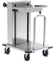 "Mobile Tray Dispenser, maximum. tray size 12"" x 22"", 150 capacity, solid shelf, open tubular frame, cantilever single self-leveling tray platform, removable carrier, adjustable lifting rate, (4) 5""HD non- marking swivel casters (2 with brakes) & bumpers, stainless steel construction& push handle, NSF"