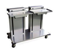"Tray Dispenser, cantilever style, mobile, double stack, single self-leveling tray platform, for 15"" x 20"" trays, stainless steel construction, 4"" swivel casters (2) with brakes, NSF"