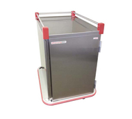 "Performance Patient tray cart; stainless steel, single door, wrap-around bumper, floor drain with plug and leash, 3-sided top rail, two trays per slide; ultra-quiet construction; adjustable tray slides accept 12""x19"", 12""x20"", 13""x21"", 14""x18"", 15""x20"", 16""x22"" and RS1089 Trays; capacity 12 trays (SIMILAR MODEL PSDTT10 PICTURED)"