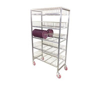 Induction Base Drying Rack:  stainless steel construction with removable wire caddy; capacity 180 induction bases