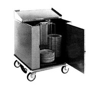 "Heated Dish Storage Cart, rotary design, enclosed type, dish dividers for 252- 12-1/2"" max diameter plates, stainless steel base and dividers, 5"" casters, 120/50/60/1-ph, 1400w, 11.7amps, NEMA 5-15P,  cUL, NSF"