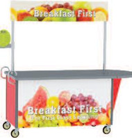 "Breakfast/Snack Cart, 65-1/2""W x 35-1/2""D x 80""H, black laminate flat top, adjustable 65""W x 12""H overhead graphic banner on stainless steel posts, 20 gauge stainless steel cabinet base with laminate exterior, stainless steel interior compartment with 18 gauge floor, (2) ergonomic vertical push handles, (2) swivel & (2) swivel/brake 5"" casters with cushion tread"