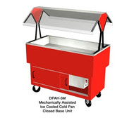 "EconoMate Cold Food Portable Buffet, 44-3/8""L, (3) section 5""D mechanically assisted ice pan, stainless steel top & pan liner, 22-1/2""W steel enclosed base with powder coat finish & sliding doors, 36-1/2""W clear acrylic canopy, 5"" casters"