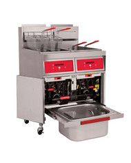 """Fryer, gas, 31"""" W, (2) battery, 45-50 lb. capacity per vat, millivolt thermostat controls, KleenScreen Plus® filtration system, twin baskets, stainless steel cabinet and fry tank, adjustable casters (2 swivel locking & 2 non-locking), 240,000 BTU, CSA, NSF"""