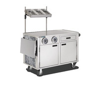 "Hydration Cart, 53.75"" x 27.19"" x 64.92"", mobile, flat work surface, marine edge, condiment shelf, slide out shelves accommodates glass racks or Coldmaster® Coldpans, right side push handle, 6"" Performa Quiet casters, stainless steel"