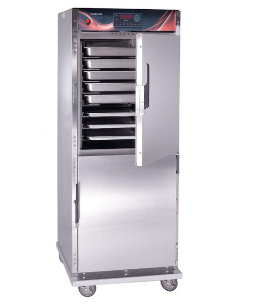 "Cook-N-Hold Cabinet, mobile, convection oven, top mounted power unit, solid state process controls, (12) sets of universal slides, adjustable on 1-1/2"" centers, (6) chrome plated wire grids, anti-microbial latches, stainless steel interior and exterior, standard controls"
