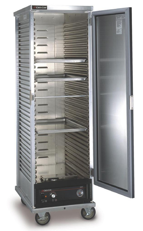 """Cabinet, Mobile Heated, non-insulated with bottom-mounted heater assembly, corrugated sides taking 18"""" x 26"""" pans, slides on 1-1/2"""" centers, capacity (34) 18"""" x 26"""" pans, (4) 5"""" casters (2) braked, aluminum exterior and interior"""
