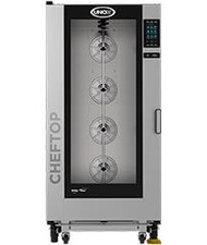 "ChefTop MIND.Maps™ Plus Combi Oven, gas, floor model, (16) 18"" x 26"" full size sheet or (32) hotel size pan capacity, MIND.Maps™ technology, programmable menu, 3-5/16"" shelf spacing, glass door, right-to-left door opening, trolley included, stainless steel interior & exterior, 1.6 kW, 120v/60/1-ph, 273,000 BTU"