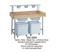 "Bakers Table, 1-3/4"" thick laminated maple top, 30"" wide top, with splash at rear & both sides, 60"" long, open base, with (2) ingredient bins, (2) drawers, centered, stainless legs & cross braces"