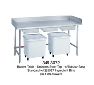 "Bakers Table, stainless steel top, 30"" wide top, with splash at rear & both sides, 72"" long, open base, with (2) ingredient bins, (3) drawers, centered, stainless legs & cross braces"
