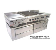 Model ARS72 Shown with optional right-located compressor with ASA griddle, ACB charbroiler and AHP hotplate