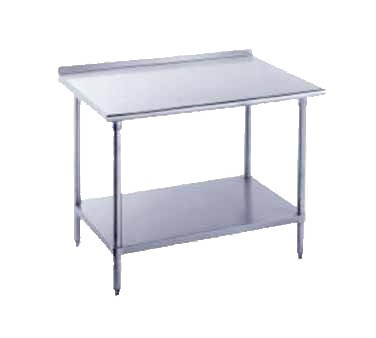 "Work Table, 24"" wide top with turned up edge at rear, 24"" long, with adjustable undershelf, stainless steel frame & shelf, 16 gauge 304 series stainless steel top, 1-1/2"" rear splash, stainless steel bullet feet"