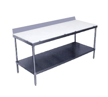 """Work Table, 5/8"""" thick Poly-Vance™ cutting surface top, 24"""" wide top, 6"""" splash at rear only, 120"""" long, with stainless steel legs & undershelf"""