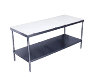 "Poly-Top Work Table, 120""W x 24""D, 5/8"" thick Poly-Vance© top, adjustable stainless steel undershelf, stainless steel legs & adjustable bullet feet, NSF,"
