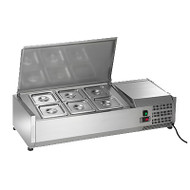 Refrigerated Counter-Top Prep Unit, includes (6) 1/6 stainless pans and covers, stainless pan supports, 33°F to 41°F temperature range, electronic thermostat with external digital LED display, stainless steel cover, stainless steel interior and exterior, plastic feet, 115v/60/1, 2.0 amps,, 8' cord, NEMA 5-15P, cETLus, ETL Sanitation