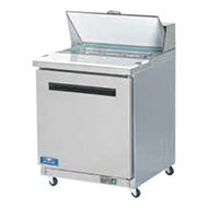 "Sandwich/Salad Prep Table, one-section, 29""W, 6.5 cubic feet, rear mounted self-contained refrigeration, electronic thermostat with digital LED temperature display, stainless steel top with 11.5""D cutting board, (8) 1/6 size pans included, (1) solid hinged self-closing door, (1) shelf, stainless steel front & sides, white ABS interior with stainless steel floor,  (4) 3"" casters (2 locking), 3/8 HP, 115v/60/1-ph, 5.0 amps, cord, NEMA 5-15P, cULus, UL EPH Classified, cETLus, ETL-Sanitation"
