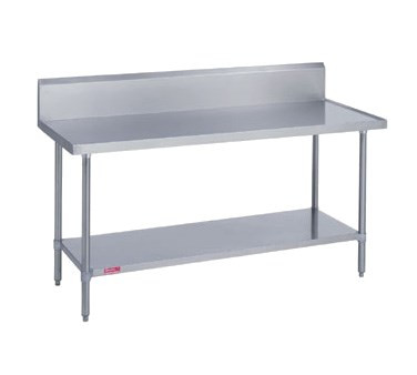 """Work Table, stainless steel top & riser, 24"""" wide top, 10""""H riser with marine edge, 24"""" long, with galvanized undershelf & posts, 36"""" high, 14/300 stainless steel"""