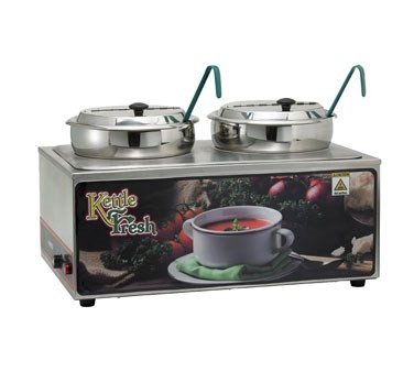 """Soup Merchandiser, 23"""" x 15"""" x 14-1/2"""", """"Kettle Fresh"""", includes warmer, double 7 qt. insets with covers, adapter plate, 2 ladles, stainless steel, 120v/50/60/1-ph, 1.2 kW, ETL"""