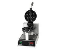 "Belgian Waffle Maker, 14"" H, 10"" W x 18-1/4"" D, 7"" round grids, 1-1/4"" thick waffles, cook 20 waffles per hour, stainless steel body, aluminum non-stick coated grids, temperature range 250° to 425° F, 180° rotating hinge, digital timer with buzzer, lighted on/off switch, includes: removable stainless steel drip pan, 5"" power cord, 1080 watts, 120v, 9 amps, NEMA 5-15P, CE"