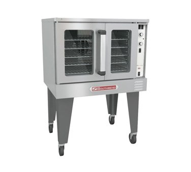 "Bronze Convection Oven, gas, single-deck, standard depth, solid state controls, 60-minute cook timer, electronic ignition, oven interior light, stainless steel front, top, sides & door, porcelain interior, 26"" painted steel triangular legs, 120v/60/1-ph, NEMA 5-15P, 1/2 HP, 54,000 BTU, CSA, NSF"
