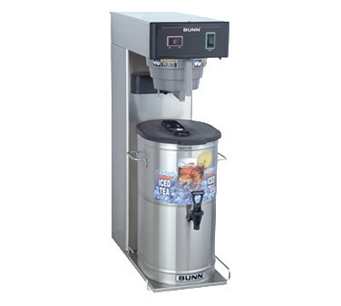 36700.0013 TB3Q Iced Tea Brewer, 3-gallon capacity single brewer, 26.7 gallon/hour, SplashGard® funnel, Quickbrew system (dispensers sold separately), 120v/60/1-ph, 1730w, 14.4amps, NEMA 5-15P, cord attached, UL, NSF