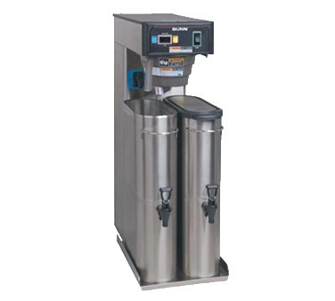 36700.0301 TB6 Twin Iced Tea Brewer, (2) 3-gallon capacity, 26.7 gallon/hour, rotating brew basket, base platform adapter, dedicated dilution nozzles, brew selection switch, adjustable sleep time, SplashGard® funnel, Quickbrew system, color coded decals, designed for brewing into (2) 3.5 gallon BUNN narrow tea dispensers (sold separately), 120v/60/1-ph, 1730w, 14.4amps, NEMA 5-15P, cord attached, UL, NSF