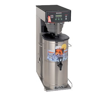 "35700.0019 ITCB-DV Infusion Series® Tea/Coffee Brewer, dual voltage, 3 or 5 gallon capacity single brewer, 29"" trunk with flip tray & overlays, full/half batch switches, BrewWISE® intelligence with pre-infusion & pulse brew, Energy-saver mode, English/Spanish alphanumeric & advertising display, brew counter, brews into BUNN tea dispensers brews into TD4, TD4T, TDS-3, TDS-3.5, TDO-4, TDO-5, TDO-N-3.5 & TDO-N-4 (sold separately) & 1.9 to 3.8 litre airpots, 120v, 120/208v, 120/240v/60/1-ph, 1700/2650/3500 watts, 14.0/13.0/15.0 amps, UL, NSF"