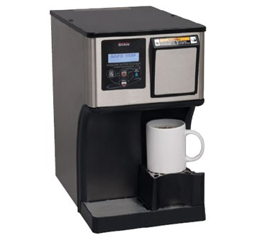 """42300.0000 MyCafé® AP AutoPOD® Brewer, automatic, single tank, works with Shurflo or Flojet pump systems, brews up to 16 oz. of coffee or tea in less than a minute, automatically disposes of spent pods into removable bin (holds up to 25 spent pods), digital display English/Spanish, push & hold hot water button dispenses up to 10 oz., integrated cup booster allows for 5"""" or 8"""" cup clearance, energy-saver mode, 120v/60/1-ph, 1450w, 12.1 amps, NEMA 5-15P , ETL, NSF"""