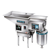Pot/Pan ScrapMaster,scrapping,pre-flushing &disposing system withwater recirculation,large top openingto accommodate pots & pans, 3 HP disposer,salvage basin & silverware trap, stainless steel construction, with start/stop push button auto reversing control & safety line disconnect