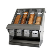 "Bread Dispenser 4 Compartment 23.75 W X 22"" D X 31"" H with 4"" adjustable 4"" legs with removable Crum Tray/ Sub-Frame constructed of heavy gauge s/s."