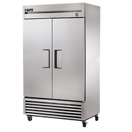 "Refrigerator, Reach-in, two-section, stainless steel doors, stainless steel front, aluminum sides, aluminum interior with stainless steel floor, (6) adjustable PVC-coated wire shelves, interior lighting, 4"" castors, 1/3 HP, 115v/60/1, 5.8 amps, 9' cord, NEMA 5-15P, MADE IN USA, cULus, NSF, CE"