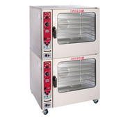 "Combi Oven Steamer, electric, double stacked, (14) 12"" x 20"" full size hotel pan or (7) 18"" x 26"" full size sheet pan capacity per compartment, Steam-on-Demand, Time to Delime indicator & Vario Steam®, 4-speed fan, core temperature probe, glass door, 13-position rack glides, (5) wire shelves, retractable hose reel, hardware & 4"" low profile casters, 38.0 kW total, (2) 1/2 HP, cETLus, NSF See Specifications for Additional Options and Accessories, Shown With Optional Casters."