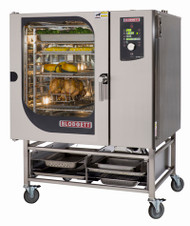 "Combi Oven Steamer, electric, boilerless, BLCM-61E stacked on BLCM-61E, (10) 12"" x 20"" full size hotel pan capacity, digital dial controls, reversible 9-speed fan, core temperature meat probe, glass door, hose reel, includes (3) wire shelves per section, stainless steel exterior & interior, cETLus, ETL-Sanitation, CE"