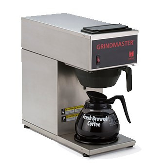 Coffee Brewer, portable, pour-over capability, single, temperature-controlled, brews directly into decanters, 1.2 gallon tank capacity, (1) warmer, stainless steel construction, 120v/60/1-ph, 15 amps, 1500 watts, NEMA 5-15P, NSF (Grindmaster) DECANTER SOLD SEPARATELY