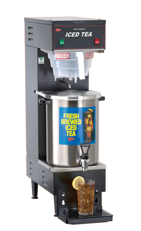 "TB3 PICTURED Iced Tea Brewer with B-1/3T Dispenser, fresh brew, automatic design, 3 gallon capacity, plastic funnel, stainless steel construction, 1/4"" water line required, 1.8 kw, 120v/60/1-ph, NEMA 5-15P, cULus, NSF (Cecilware)"