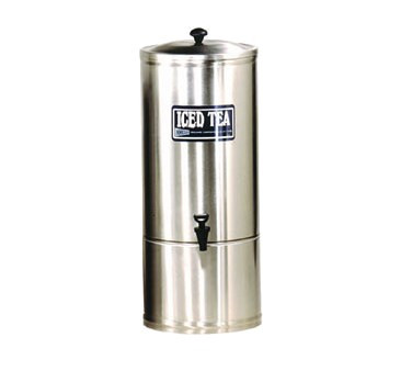 """Iced Tea Dispenser, 10-gallon capacity, 9"""" faucet clearance, stainless steel construction, portable design, NSF (Cecilware)"""