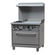 "Black Diamond Range with Griddle, natural gas, 36"", (2) 12"" x 12"" 30,000 BTU top burners, removable cast iron top grates, individual pilot lights & controls, (1) standard oven base, 150°F to 550°F temperature range, (2) adjustable racks, backriser with shelf, removable crumb tray, griddle 24""W x 21""D cook top, 3/4"" thick griddle plate, stainless steel, 6"" adjustable legs, 3/4"" NPT, 130,000 BTU, cETLus, ETL-Sanitation (NET/NET delivered pricing is only valid for items that are delivered to your physical business address."
