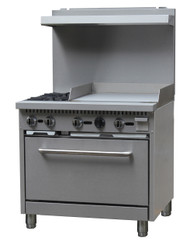 "Black Diamond Range with Griddle, natural gas, 36"", (2) 12"" x 12"" 30,000 BTU top burners, removable cast iron top grates, individual pilot lights & controls, (1) standard oven, 150°F to 550°F temperature range, (1) adjustable racks per oven, backriser with shelf, removal crumb tray, griddle 24""W x 21""D cook top, 3/4"" thick griddle plate, stainless steel, 6"" adjustable legs, 3/4"" NPT, 130,000 BTU, cETLus, ETL-Sanitation"
