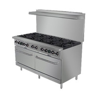 "Black Diamond Range, natural gas, 24"", (10) 12"" x 12"" 30,000 BTU top burners, removable cast iron top grates, individual pilot lights & controls, (2) standard ovens, 200°F to 550°F temperature range, (2) adjustable racks per oven, backriser with shelf, removal crumb tray, stainless steel, 6"" adjustable legs, 3/4"" NPT, 356,000 BTU, cETLus, ETL-Sanitation"