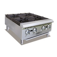 "Black Diamond Hotplate, countertop, 24"" wide, (4) manual cast iron burner controls, stainless steel drip tray, stainless steel front and sides, adjustable legs, includes tips for field conversion to LPG, 100,000 BTU, 3/4"" rear NPT, cETLus, ETL-Sanitation"