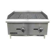 "Black Diamond Charbroiler, countertop, 24""W x 26""D, radiant heat, (2) manual stainless steel burner controls, cast iron reversible & height adjustable grates, stainless steel drip tray, stainless steel front and sides, splash guards, adjustable legs, includes tips for field conversion to LPG, 60,000 BTU, 3/4"" rear NPT, cETLus, ETL"