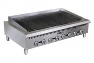 "Black Diamond Charbroiler, countertop, 48""W x 26""D, radiant heat, (4) manual stainless steel burner controls, cast iron reversible & height adjustable grates, stainless steel drip tray, stainless steel front and sides, splash guards, adjustable legs, includes tips for field conversion to LPG, 120,000 BTU, 3/4"" rear NPT, cETLus, ETL"