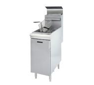 Black Diamond Fryer, floor standing, LP gas, 45-50 lbs. capacity, thermostatically controlled, automatic shut off, stainless steel tank, includes (2) baskets, built-in integrated flue deflector, stainless steel front & door with galvanized sides & back, adjustable legs, 120,000 BTU, cETLus, ETL-Sanitation.