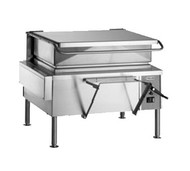 "50 Hz Braising Pan, electric, 40-gallon capacity, 46"" wide open base, manual tilt, 9"" deep stainless steel pan with gallon markings, pouring lip & removable strainer, spring assist cover with drip edge, pan holder, water tight solid state controls, includes L faucet bracket, 12"" stainless steel legs with adjustable flanged feet, UL, cUL, UL EPH"