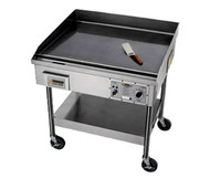 "Accu-Steam™ Griddle, includes stand with casters, electric, 48"" x 29"" griddle area, 8 ga. 304 stainless steel cooking surface, solid state thermostat, 4"" grease trough, 14 ga. stainless steel cabinet, 208/60/3-ph, 14.25kw, 39.56 amps, 5' cord & NEMA 15-50P. Works on 50 Hz"