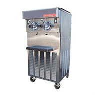 50 Hz Soft Serve/Yogurt Twin Freezer, floor model, air or water cooled, self-contained refrigeration, 2 heads, 20 qt. mix capacity (per side), welded steel frame, stainless steel exterior, electronic consistency control, mix out light, (2) 1-1/4 HP dasher, (2) 2 HP compressor, casters included, UL, cUL, NSF