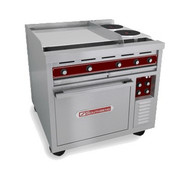 "50 Hz Heavy Duty Range, electric, 36"", (3) 12"" hot tops, thermostatic controls, (1) standard oven, includes (1) rack, stainless steel front, sides, top & oven lining, cETLus, ETL-Sanitation"