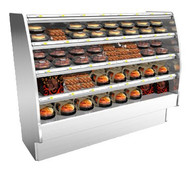 "50 Hz Fusion® Self-Serve Hot Deli Merchandiser, 75-3/8""W, 60""H, high profile, open front, full end panels with mirror, heated metal shelves with incandescent lights, laminated exterior, stainless steel interior, front access to controls, stainless steel solid back panel, cETLus, ETL-Sanitation"