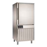 "Blast Chiller/Shock Freezer, Reach-In, self-contained refrigeration, (12) 18"" x 26"" x 1"" pan capacity, 2.56"" shelf spacing, 100lbs. chill from 194°F to 37°F in 90 mins, 70 lbs. freeze from 194°F to 0°F in 240 mins, (1) core temp probe, electronic control with LCD temperature display, HACCP monitoring, safety micro-switch, programmable controls, RS 485 connection, manual defrost, bottom mount refrigeration, stainless steel construction, adjustable feet, 2-3/4 HP, cETLus, ETL"
